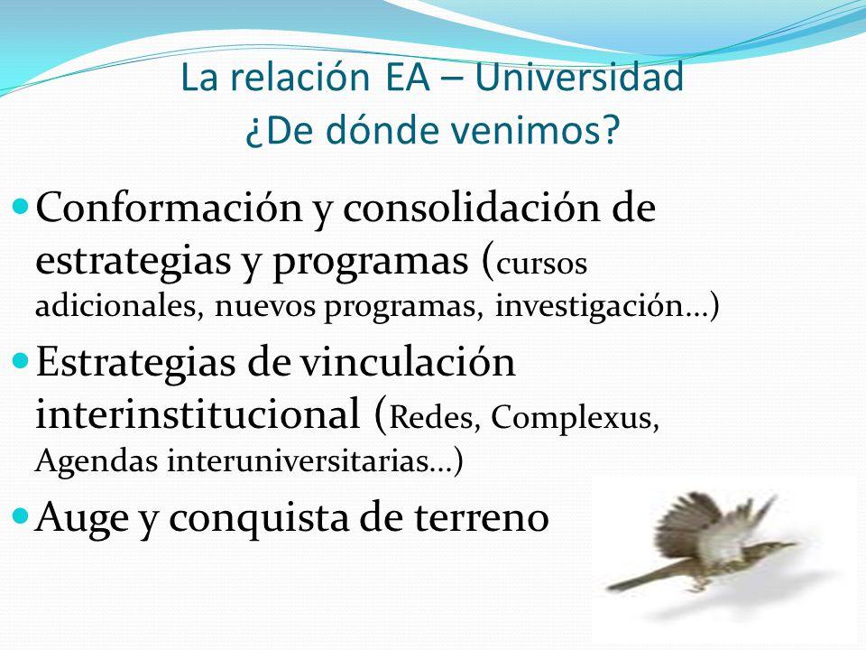 La relación EA – Universidad ¿De dónde venimos