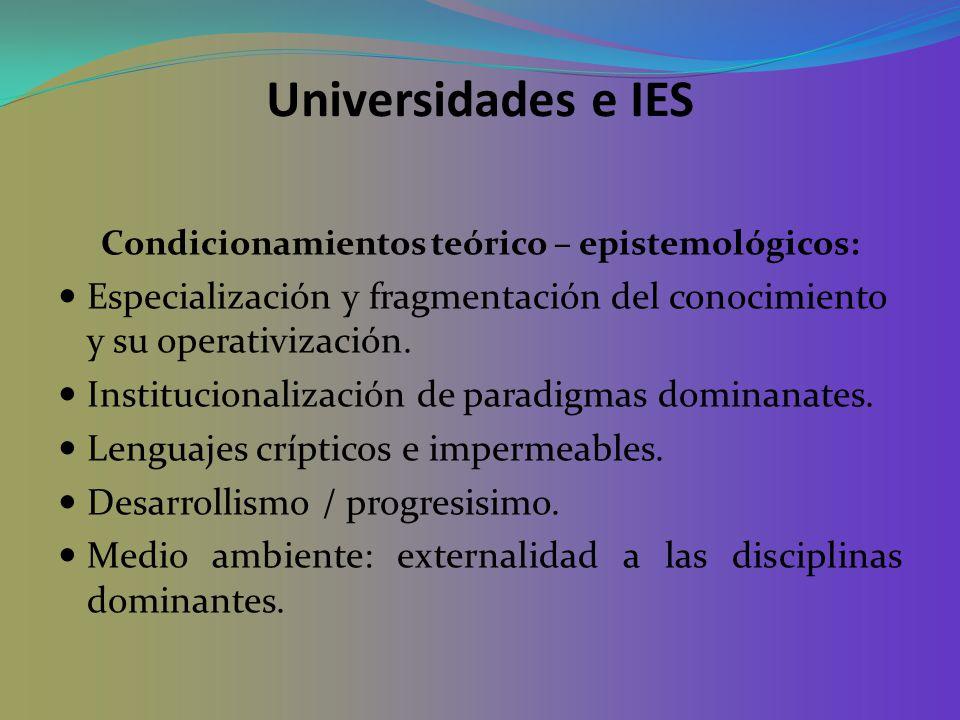Condicionamientos teórico – epistemológicos: