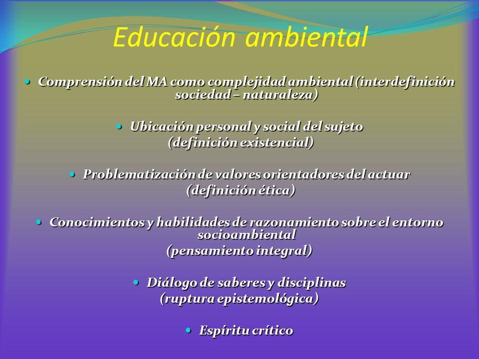 Educación ambiental Comprensión del MA como complejidad ambiental (interdefinición sociedad – naturaleza)