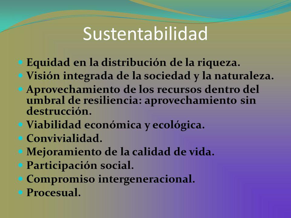 Sustentabilidad Equidad en la distribución de la riqueza.