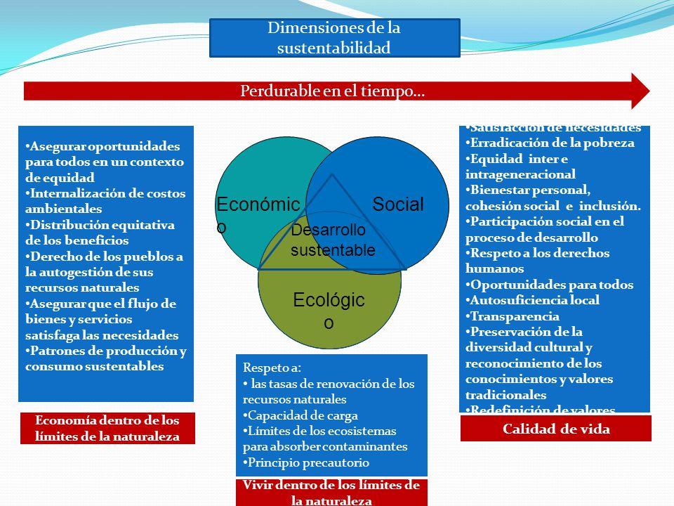 Económico Social Ecológico Dimensiones de la sustentabilidad