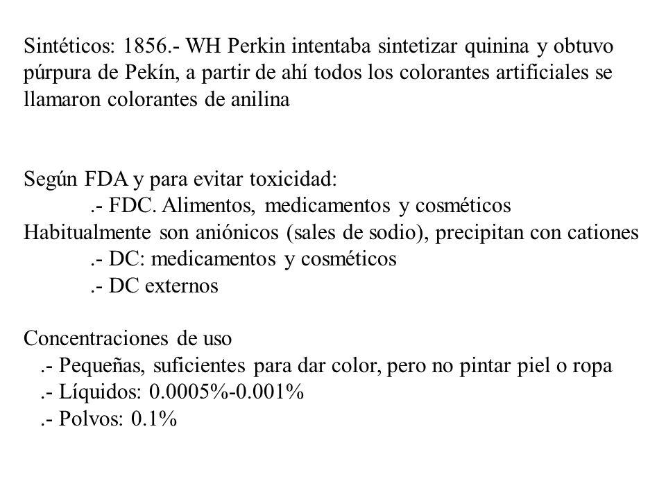Sintéticos: 1856.- WH Perkin intentaba sintetizar quinina y obtuvo púrpura de Pekín, a partir de ahí todos los colorantes artificiales se llamaron colorantes de anilina