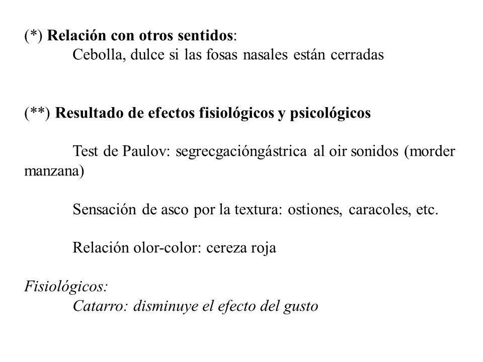 (*) Relación con otros sentidos: