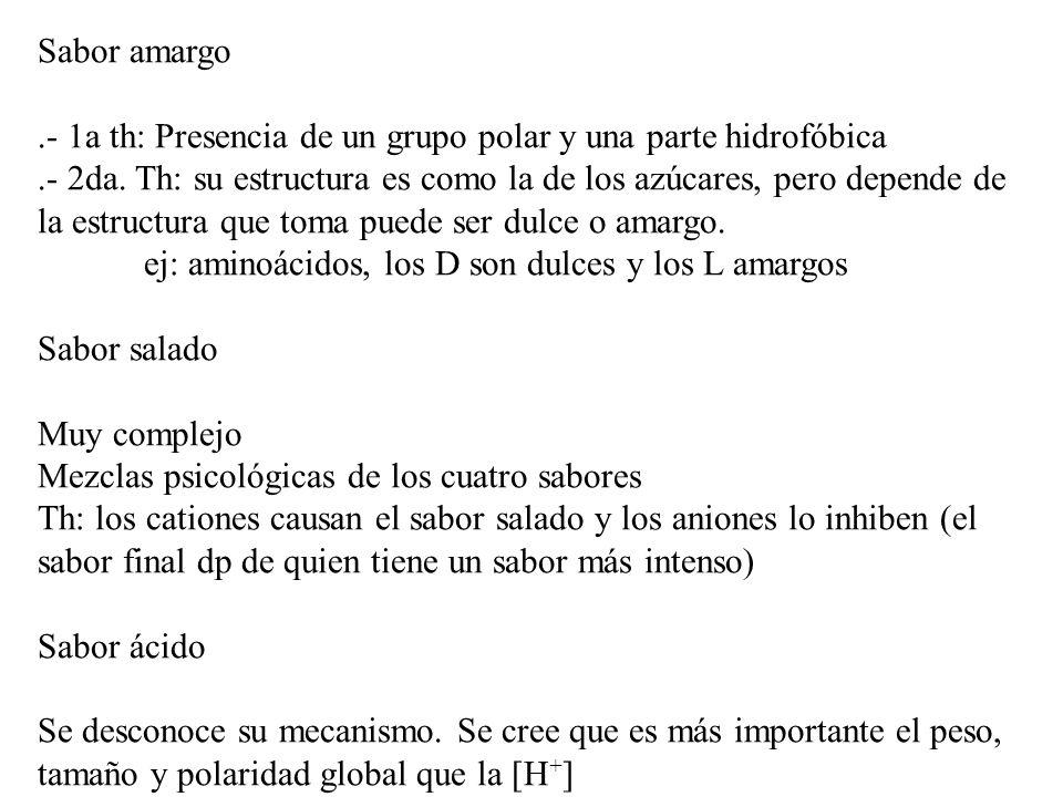 Sabor amargo .- 1a th: Presencia de un grupo polar y una parte hidrofóbica.