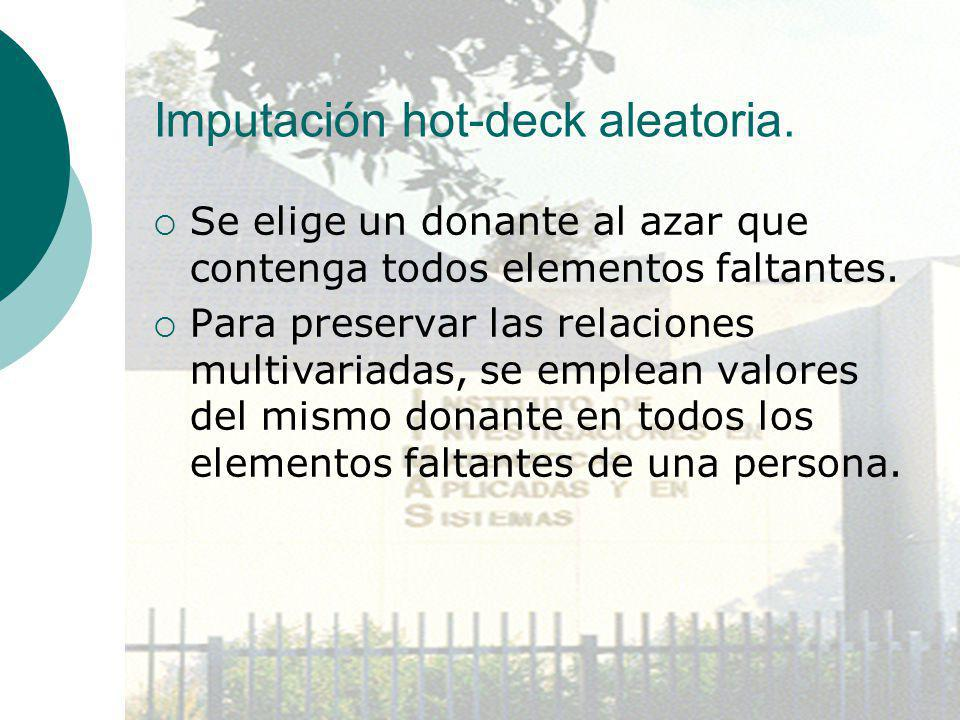 Imputación hot-deck aleatoria.