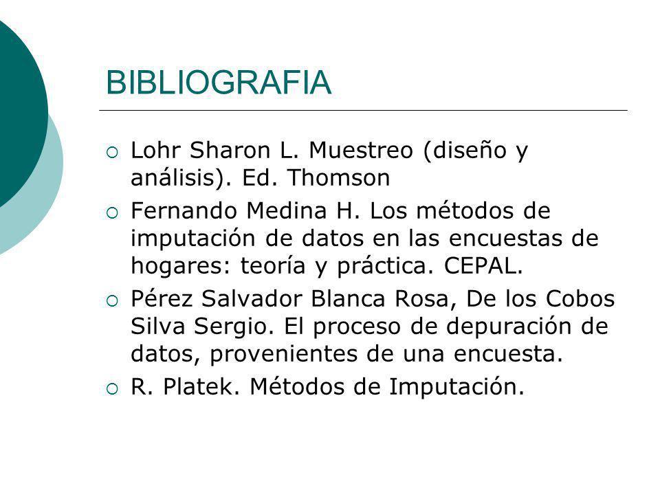 BIBLIOGRAFIA Lohr Sharon L. Muestreo (diseño y análisis). Ed. Thomson