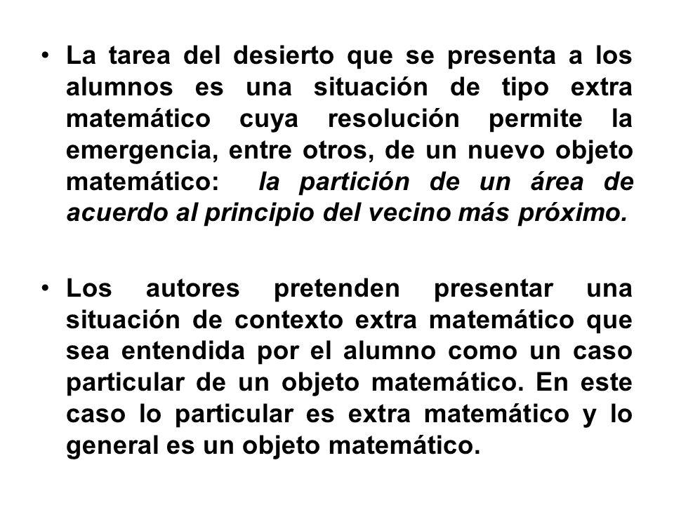 La tarea del desierto que se presenta a los alumnos es una situación de tipo extra matemático cuya resolución permite la emergencia, entre otros, de un nuevo objeto matemático: la partición de un área de acuerdo al principio del vecino más próximo.
