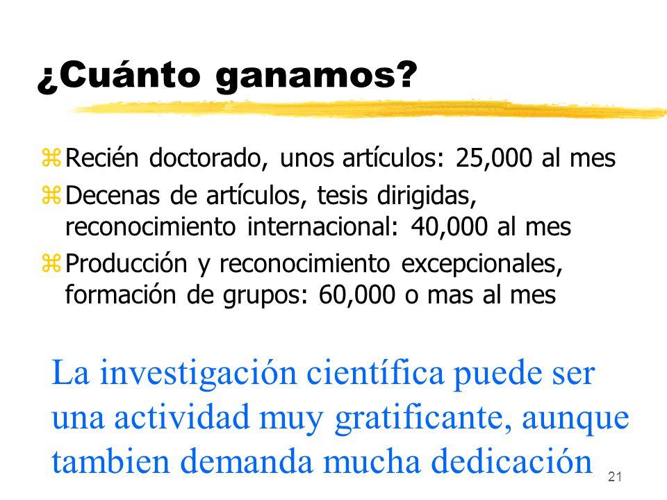 ¿Cuánto ganamos Recién doctorado, unos artículos: 25,000 al mes. Decenas de artículos, tesis dirigidas, reconocimiento internacional: 40,000 al mes.