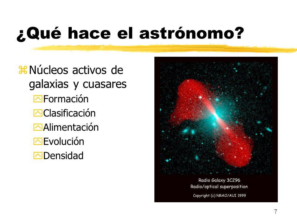 ¿Qué hace el astrónomo Núcleos activos de galaxias y cuasares