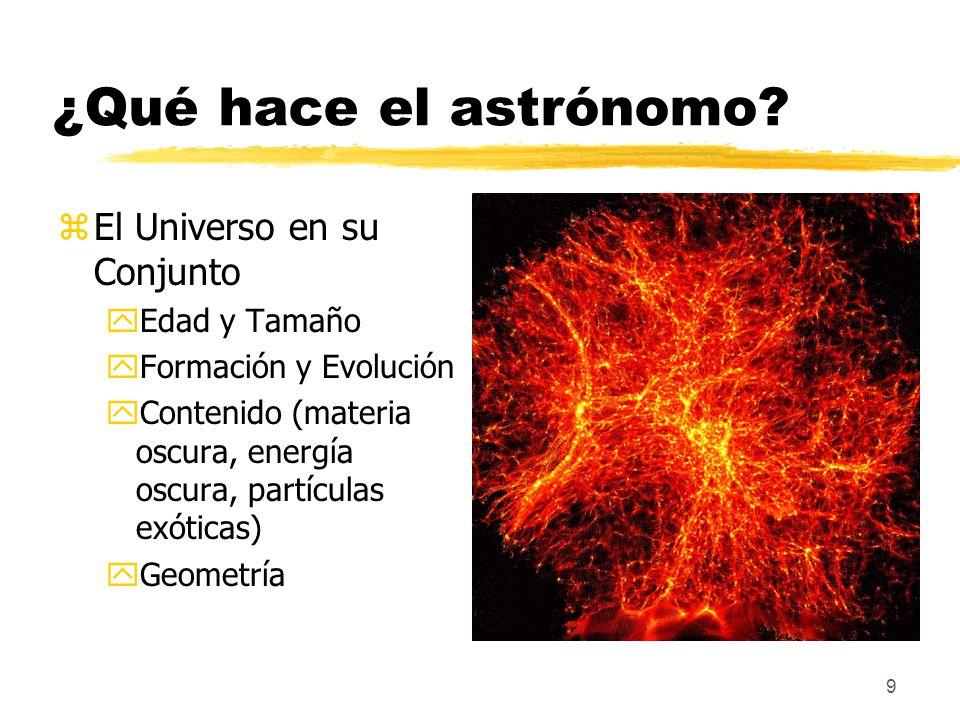 ¿Qué hace el astrónomo El Universo en su Conjunto Edad y Tamaño