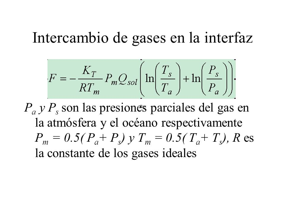 Intercambio de gases en la interfaz