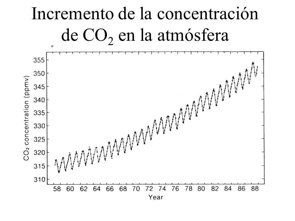 Incremento de la concentración de CO2 en la atmósfera