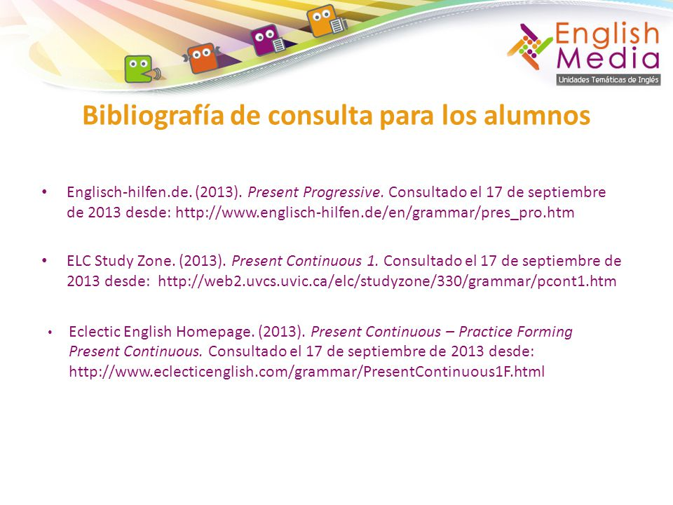 Bibliografía de consulta para los alumnos