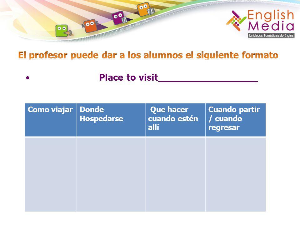 El profesor puede dar a los alumnos el siguiente formato