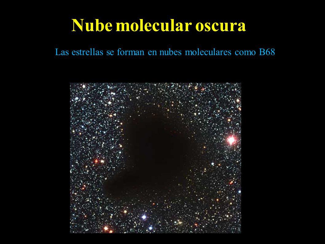Las estrellas se forman en nubes moleculares como B68