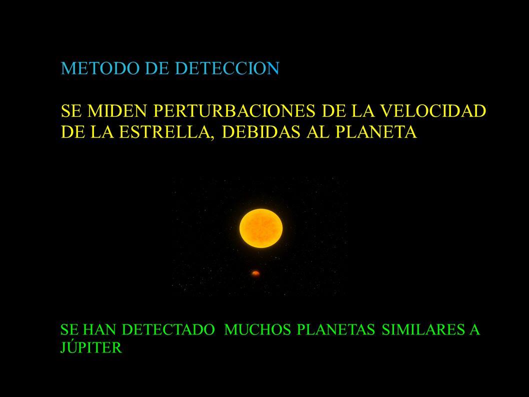METODO DE DETECCION SE MIDEN PERTURBACIONES DE LA VELOCIDAD DE LA ESTRELLA, DEBIDAS AL PLANETA.