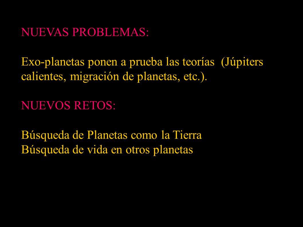 NUEVAS PROBLEMAS: Exo-planetas ponen a prueba las teorías (Júpiters calientes, migración de planetas, etc.).