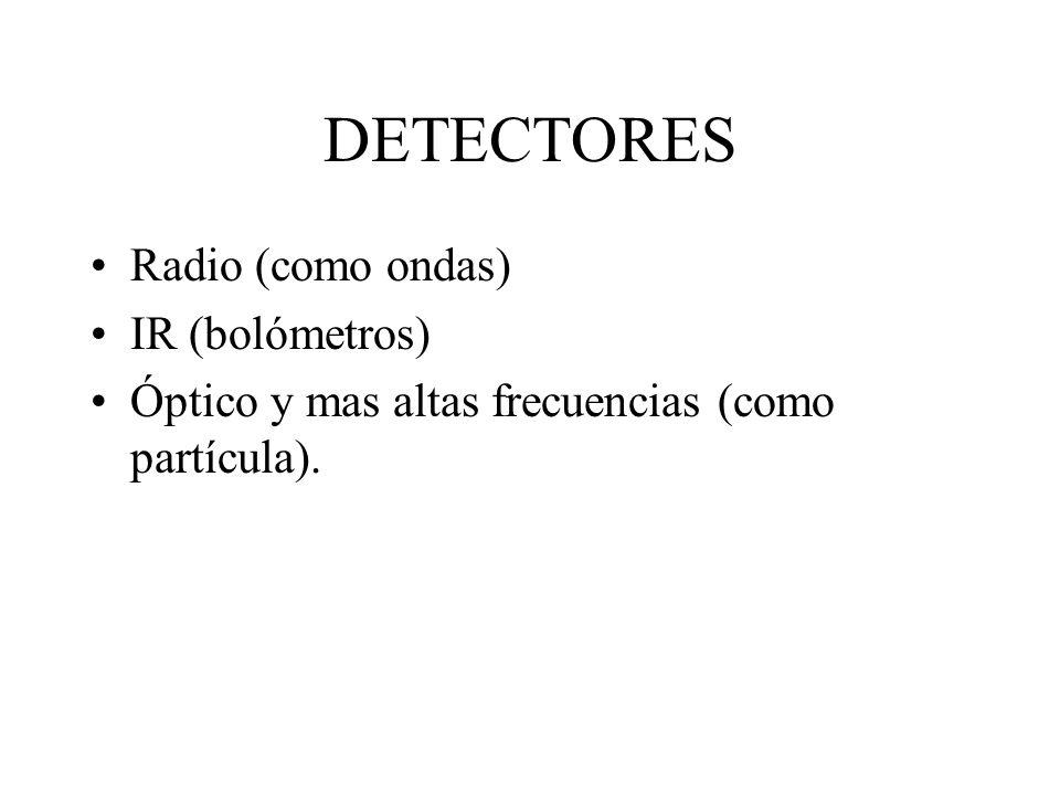 DETECTORES Radio (como ondas) IR (bolómetros)