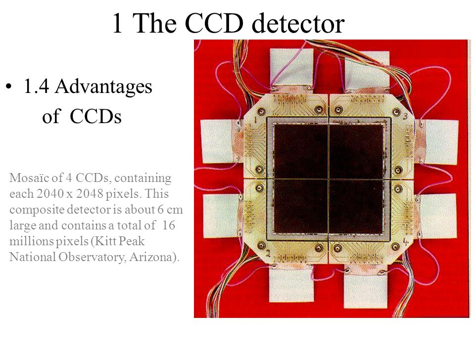 1 The CCD detector 1.4 Advantages of CCDs Mosaïc of 4 CCDs, containing