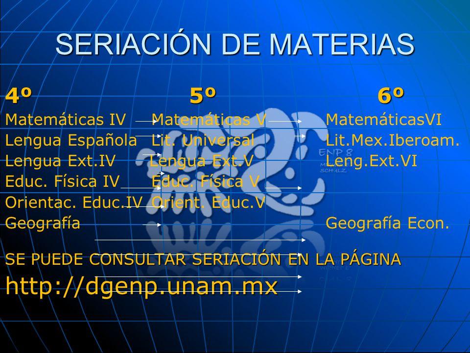 SERIACIÓN DE MATERIAS http://dgenp.unam.mx 4º 5º 6º