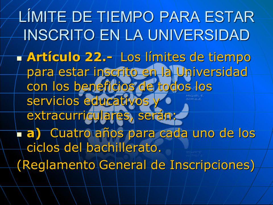 LÍMITE DE TIEMPO PARA ESTAR INSCRITO EN LA UNIVERSIDAD