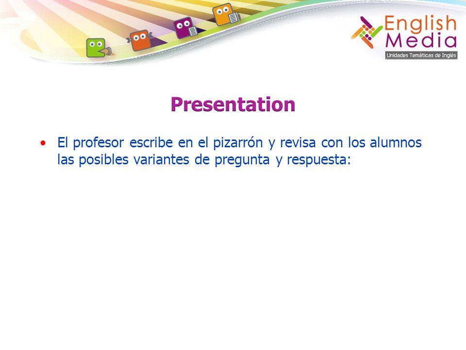Presentation El profesor escribe en el pizarrón y revisa con los alumnos las posibles variantes de pregunta y respuesta: