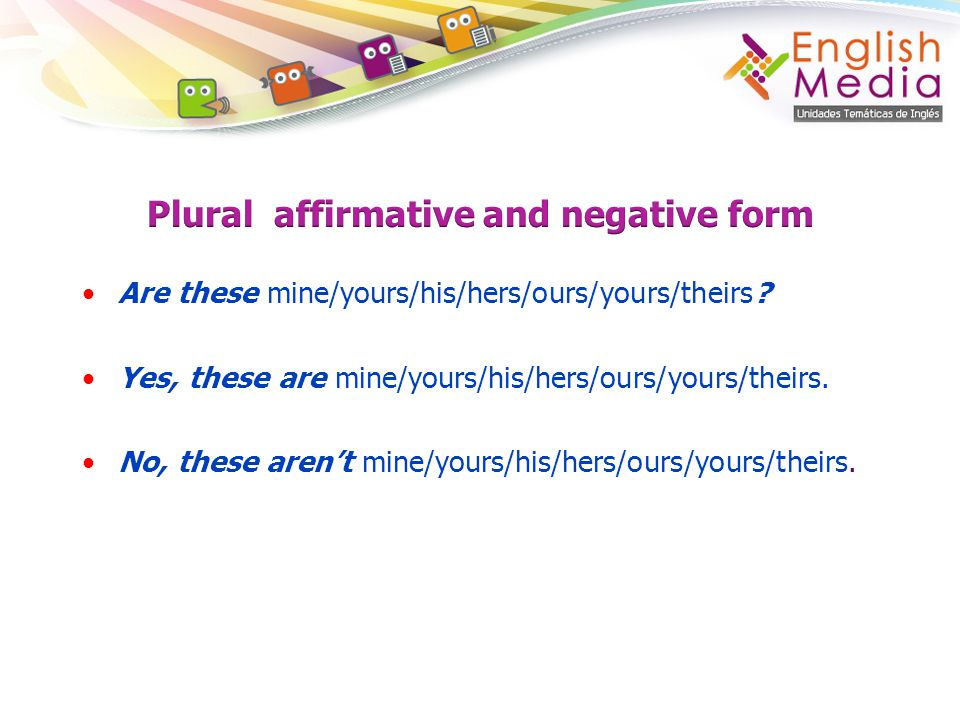Plural affirmative and negative form