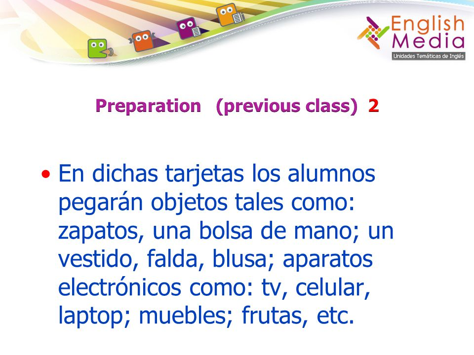 Preparation (previous class) 2