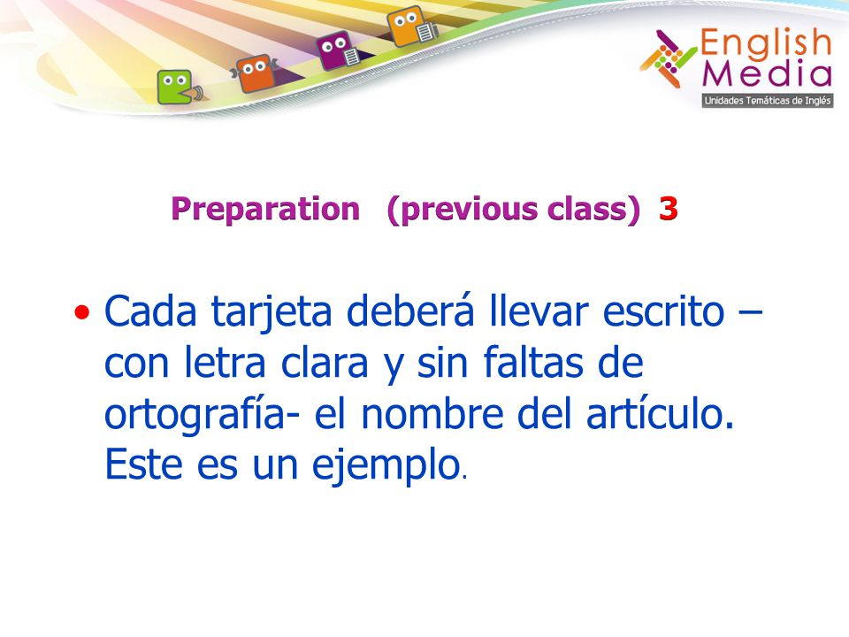 Preparation (previous class) 3