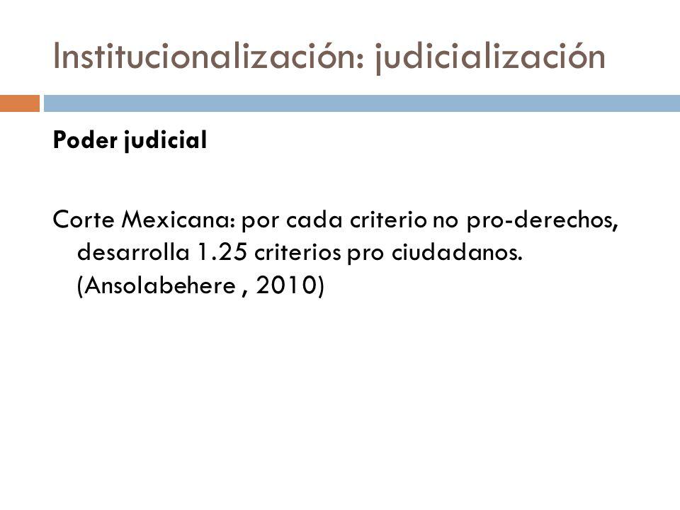 Institucionalización: judicialización