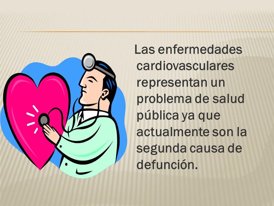 Las enfermedades cardiovasculares representan un problema de salud pública ya que actualmente son la segunda causa de defunción.