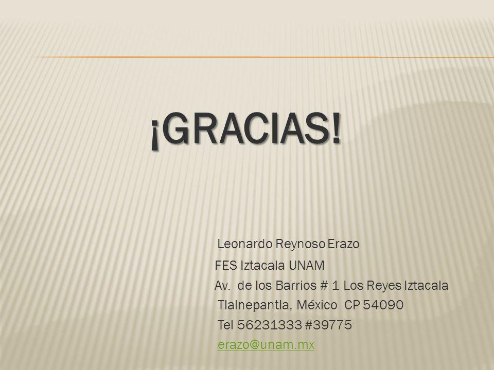 ¡GRACIAS! Leonardo Reynoso Erazo FES Iztacala UNAM