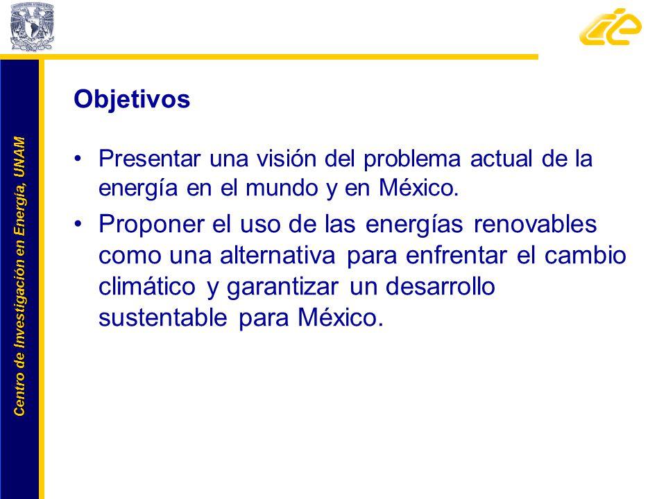 Objetivos Presentar una visión del problema actual de la energía en el mundo y en México.