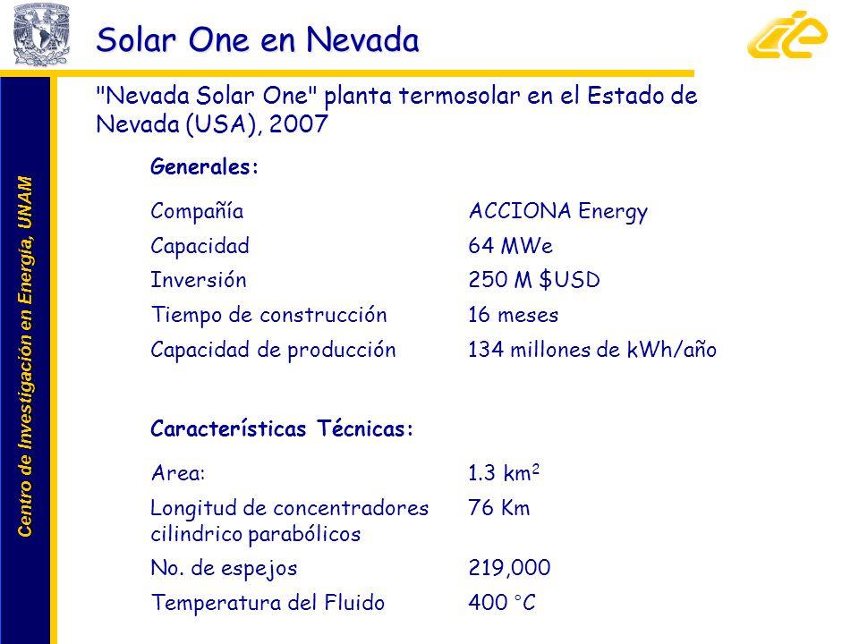 Solar One en Nevada Nevada Solar One planta termosolar en el Estado de Nevada (USA), 2007. Generales: