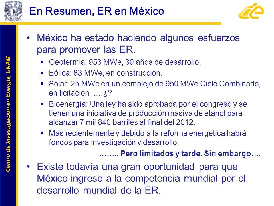 En Resumen, ER en México México ha estado haciendo algunos esfuerzos para promover las ER. Geotermia: 953 MWe, 30 años de desarrollo.