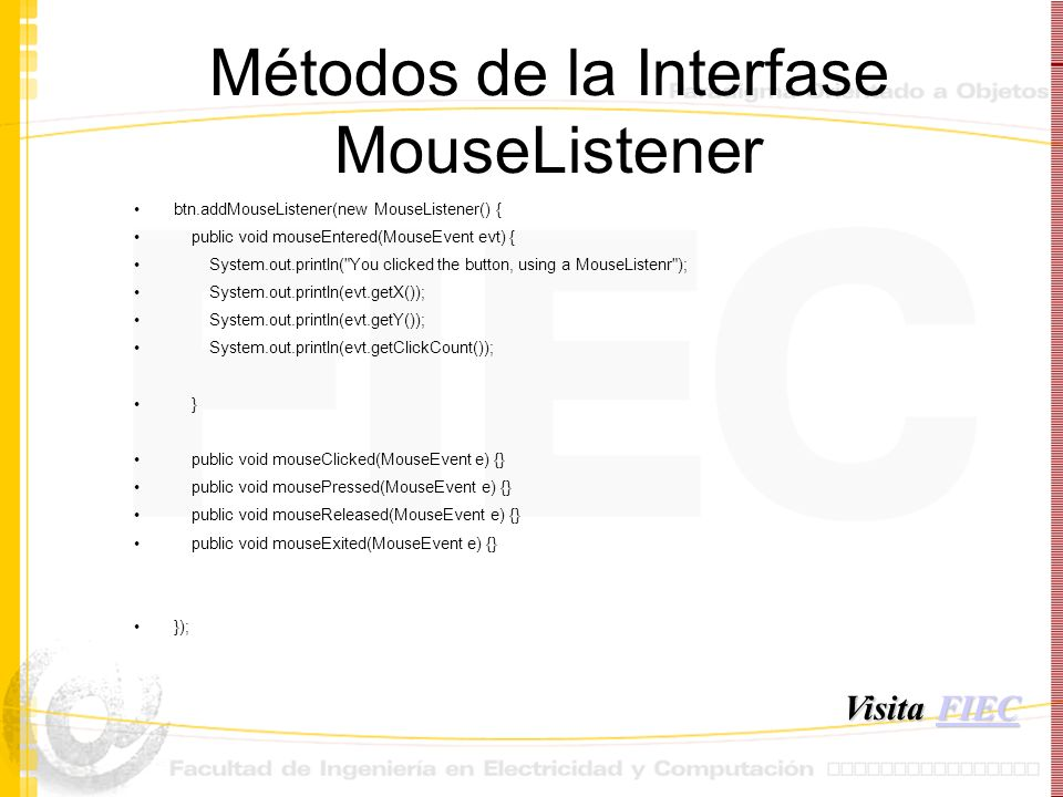 Métodos de la Interfase MouseListener