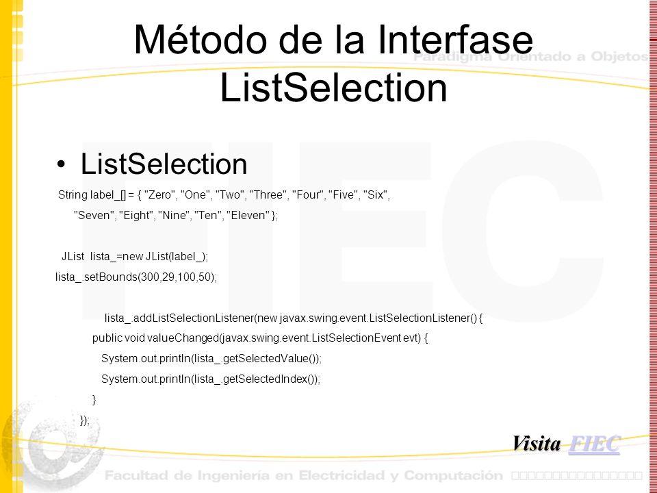 Método de la Interfase ListSelection