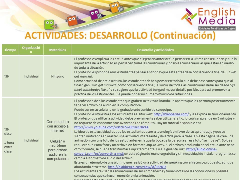 ACTIVIDADES: DESARROLLO (Continuación)