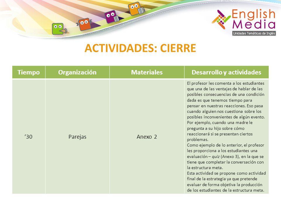 Desarrollo y actividades