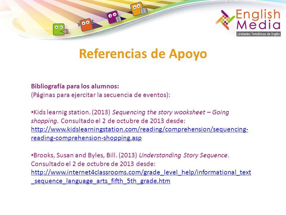 Referencias de Apoyo Bibliografía para los alumnos: