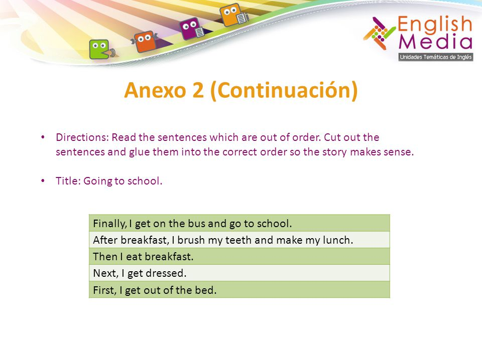 Anexo 2 (Continuación) Finally, I get on the bus and go to school.