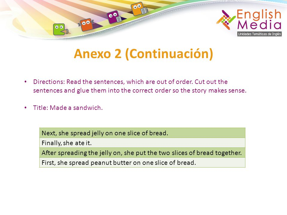 Anexo 2 (Continuación) Next, she spread jelly on one slice of bread.