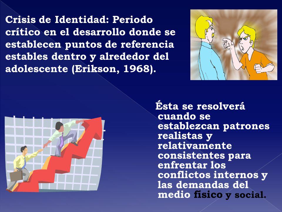 Crisis de Identidad: Periodo crítico en el desarrollo donde se establecen puntos de referencia estables dentro y alrededor del adolescente (Erikson, 1968).