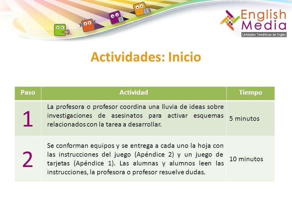 1 2 Actividades: Inicio Paso Actividad Tiempo