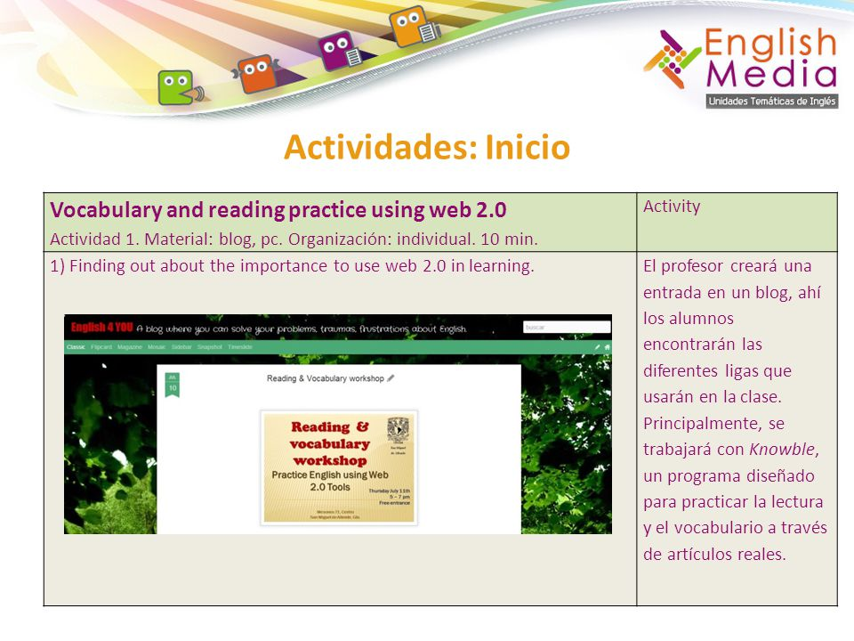 Actividades: Inicio Vocabulary and reading practice using web 2.0