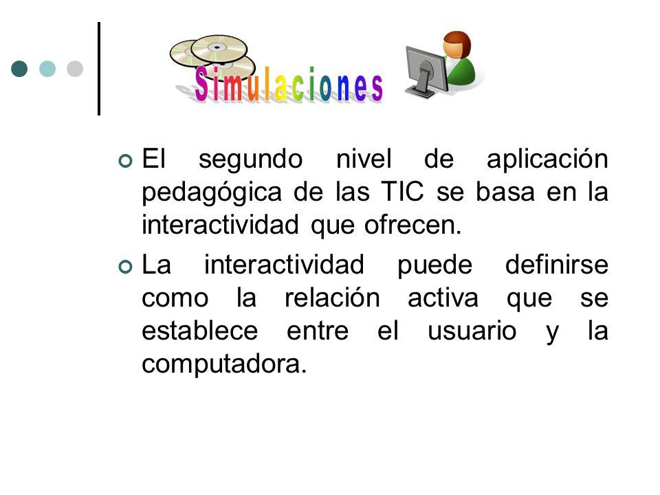 Simulaciones El segundo nivel de aplicación pedagógica de las TIC se basa en la interactividad que ofrecen.