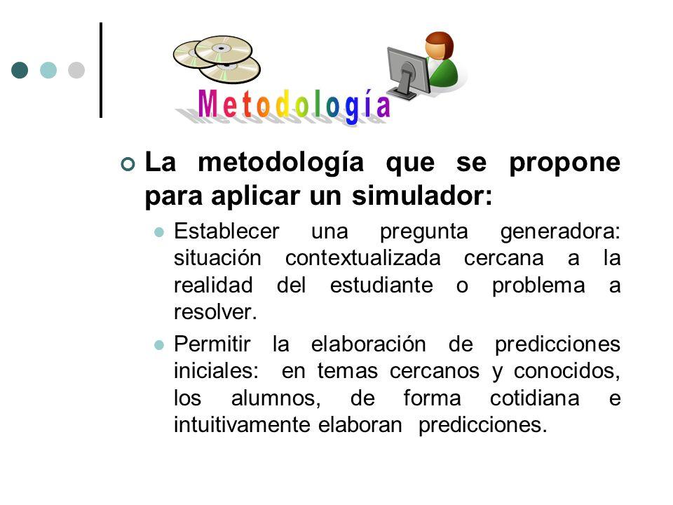 La metodología que se propone para aplicar un simulador: