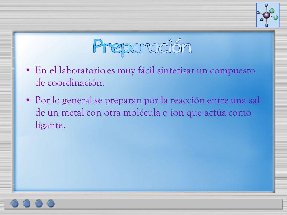 Preparación En el laboratorio es muy fácil sintetizar un compuesto de coordinación.