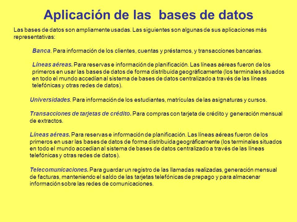 Aplicación de las bases de datos