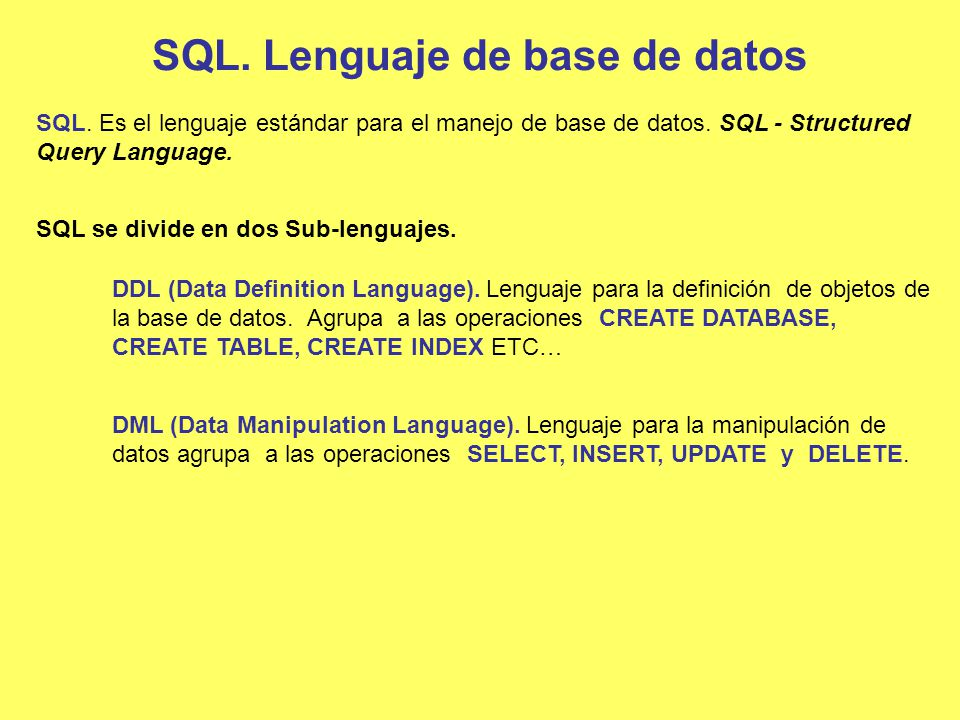 SQL. Lenguaje de base de datos